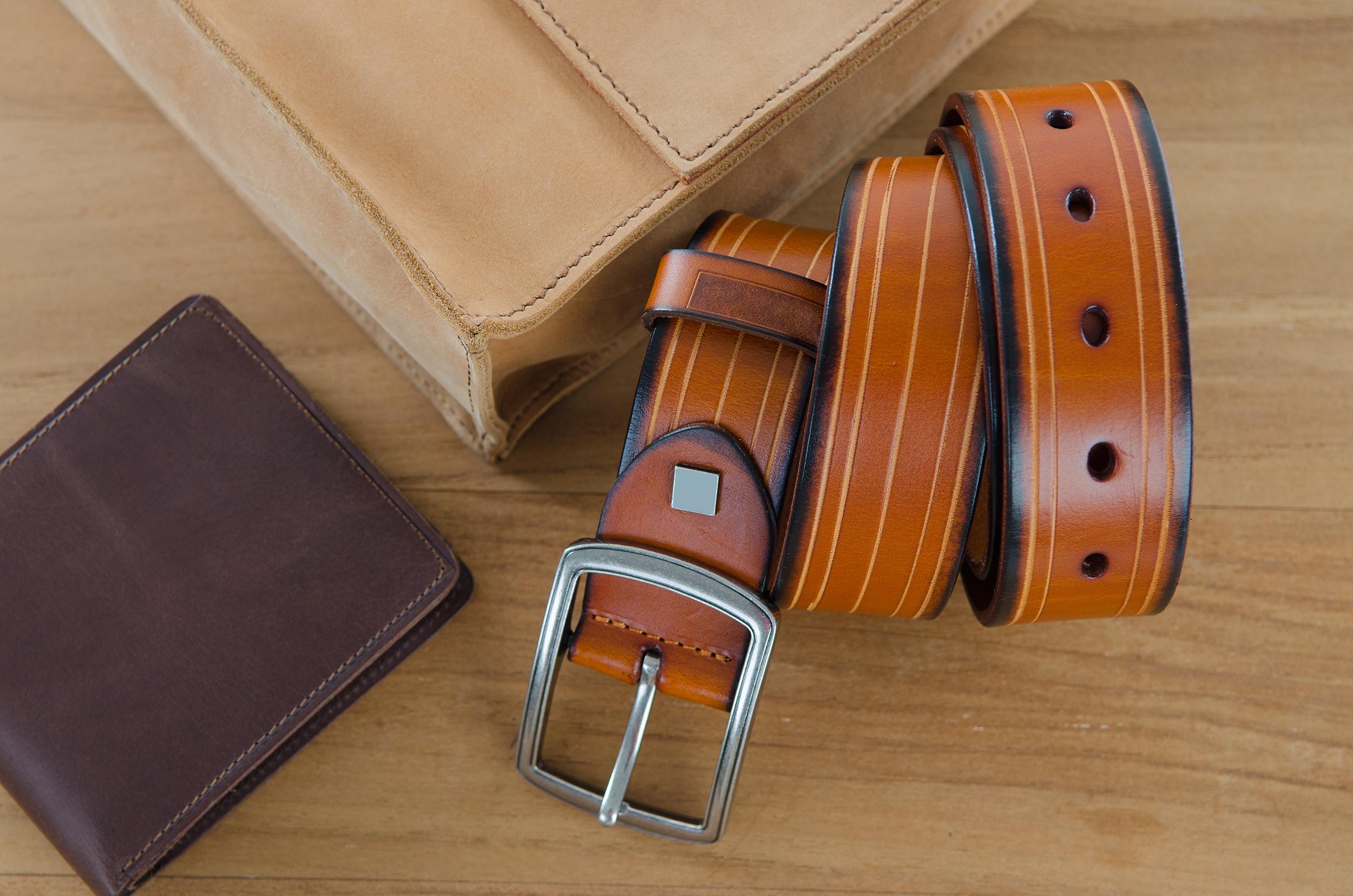 men accessories on wooden background